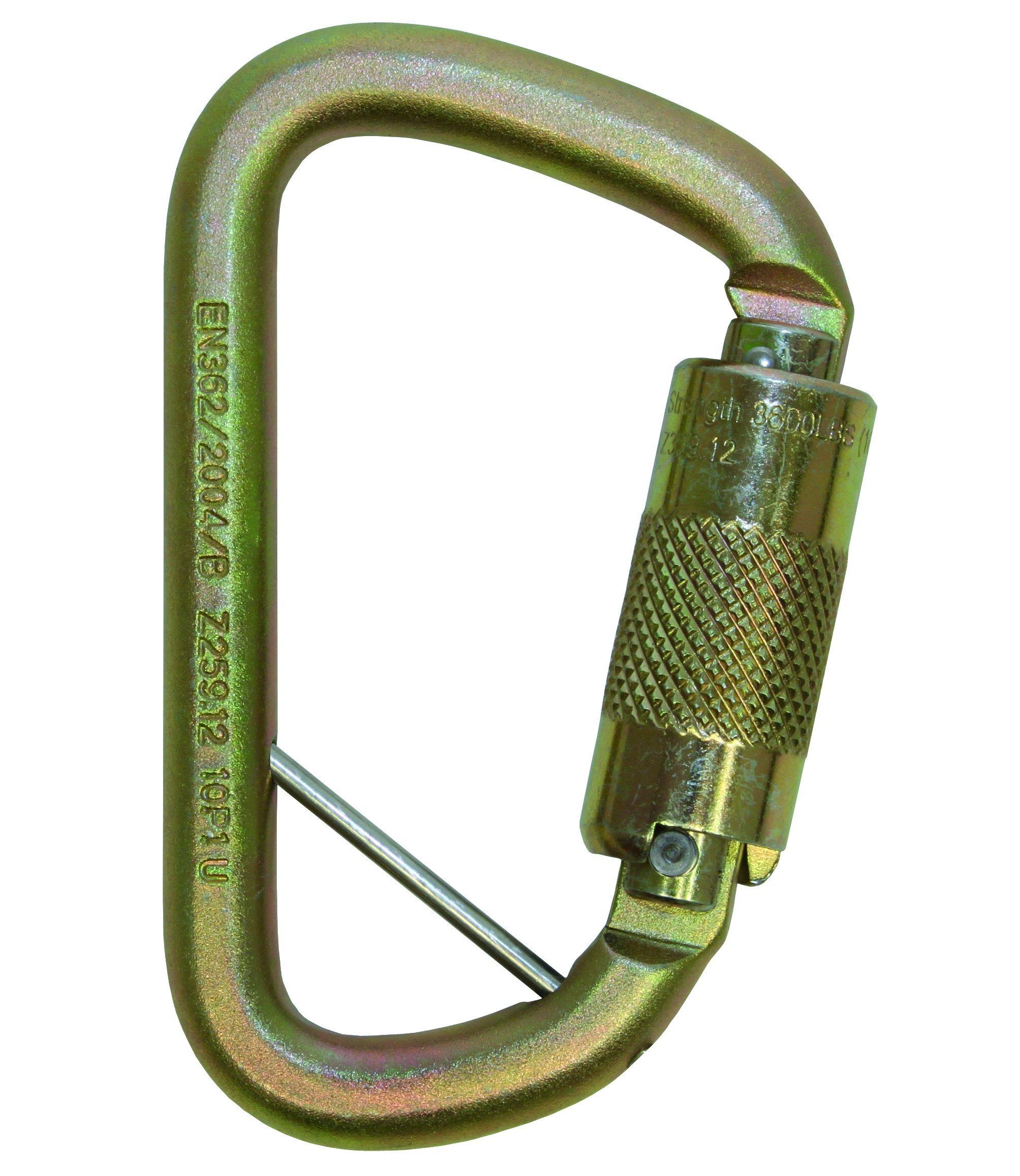 3M DBI-SALA Saflok 2000117 Carabiner, 11/16'' Gate Opening Steel, with Self Closing Locking Gate, Yellow-Zinc