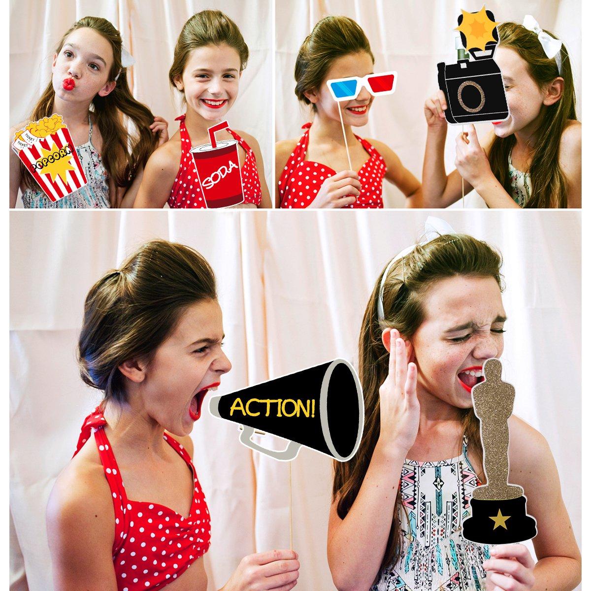 LUOEM Hollywood Photo Booth Props Hollywood Style Photo Props Despedida de Soltera Decoraci/ón de la Boda Bigote Fiesta de Cumplea/ños Suministros 21Pcs