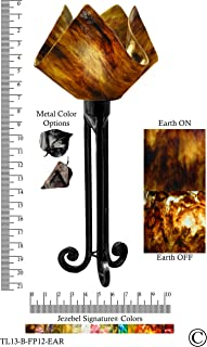 product image for Jezebel Signature Torch Light. Hardware: Black. Glass: Earth, Flame Style