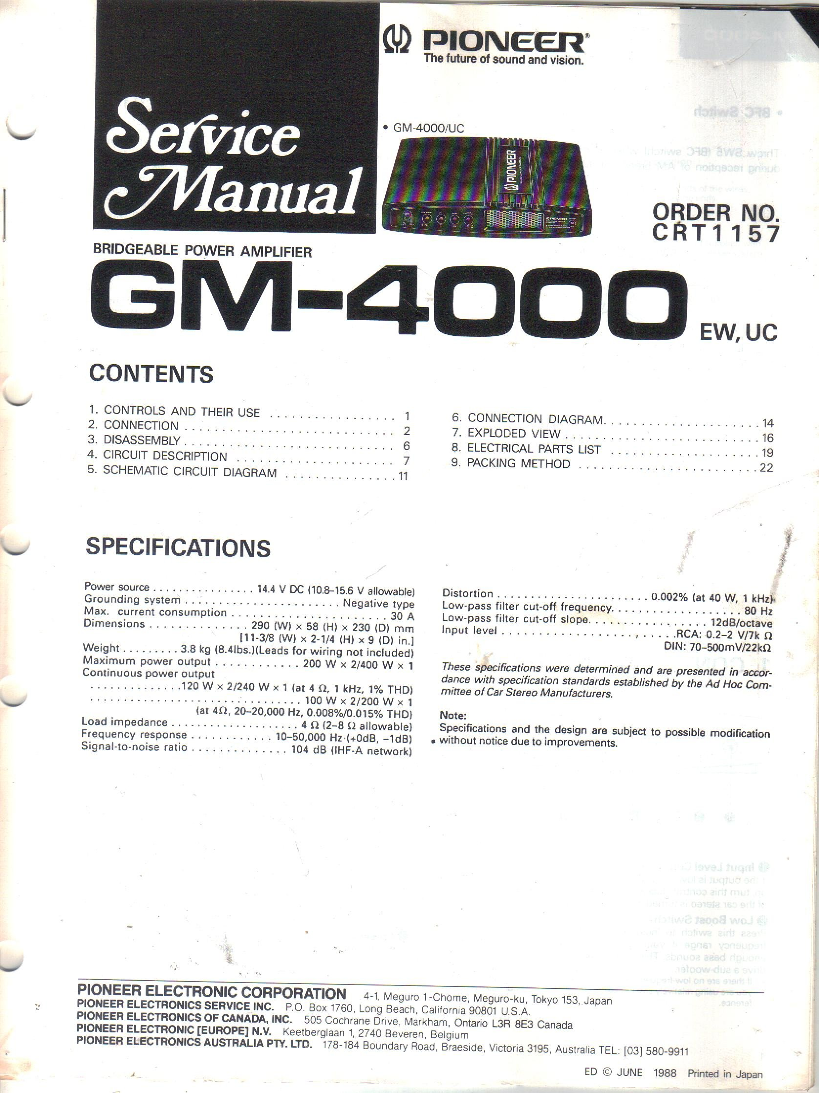 Pioneer Gm 4000 Bridgeable Power Amplifier Service Manual Parts Model A Wiring Diagram Amp List For Schematic Electronic Corp Not Stated Books