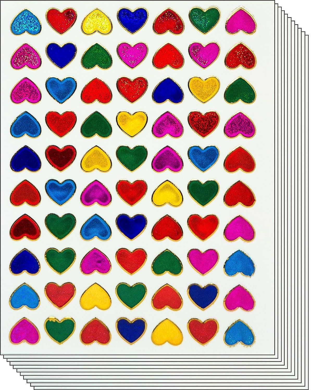 Jazzstick 700 Small Heart Stickers Glitter Red Pink Yellow Green Blue Scrapbook 10 sheets 01A36
