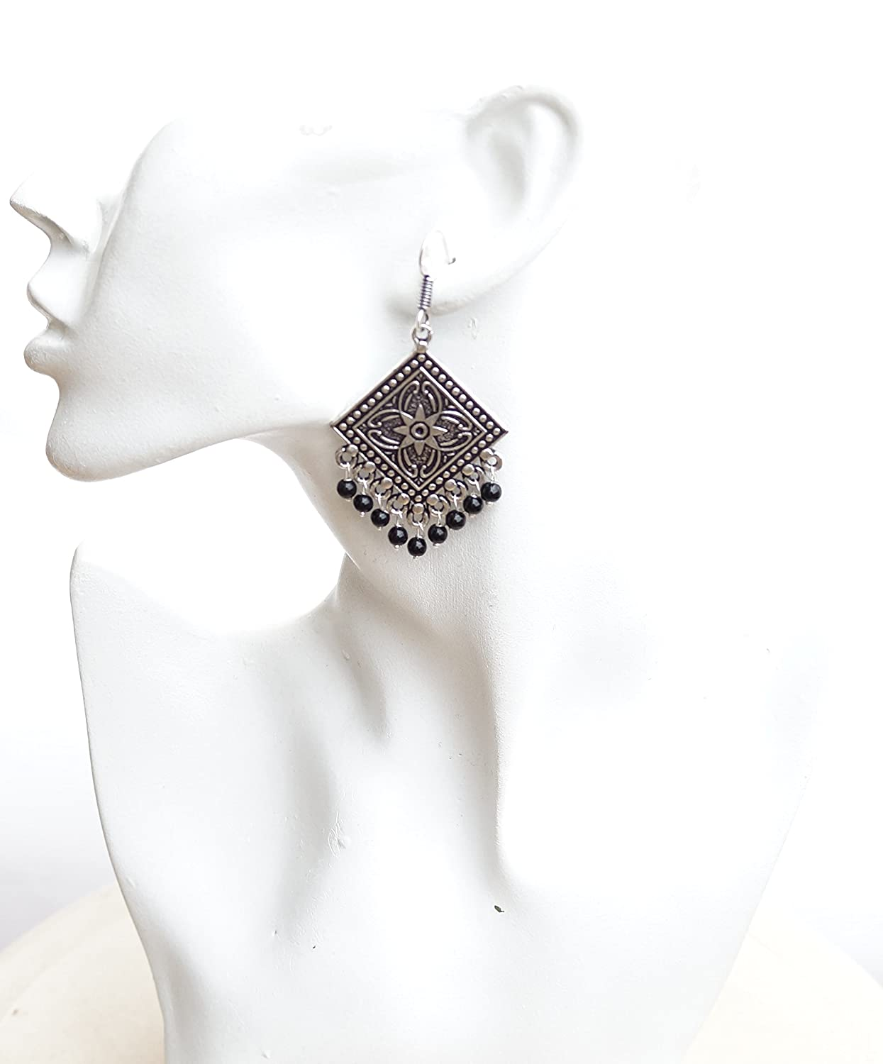 Sansar India Boho Square Drop Gypsy Oxidised Handmade Indian Indian Earrings Jewelry for Girls and Women
