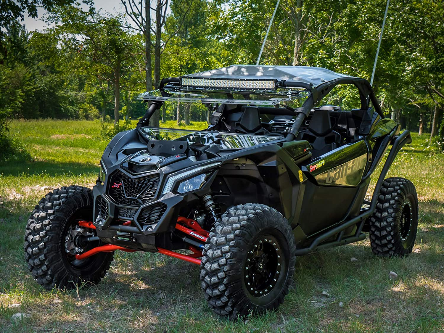 No Ball Joints Installed See Fitment SuperATV Heavy Duty High Clearance Front A-Arms for 64 Wide Can-Am Maverick X3 900 // Turbo//Max - BLACK 2017+