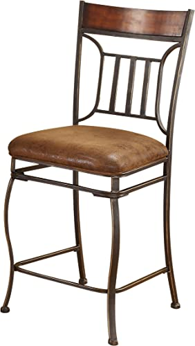 ACME Tavio Counter Height Chair Set-2 – 96058 – Fabric Black w Gold Brush – 24 Seat Height