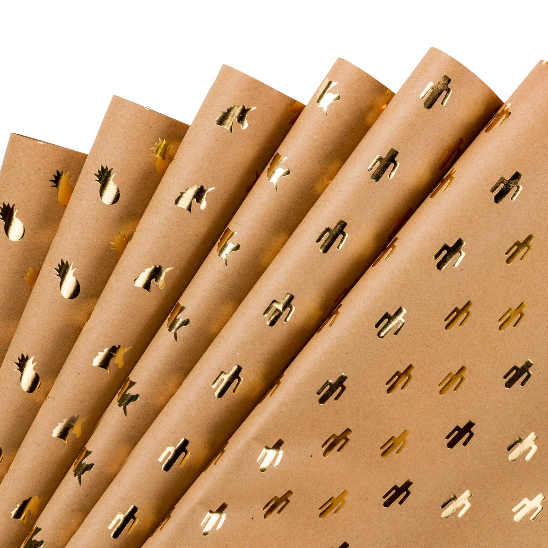 RUSPEPA Foglio Di Carta Da Regalo Carta Kraft Di Disegno Geometrico Blu Scuro 6 Fogli Confezionati In 1 Rotolo 44,5 X 76 CM Per Foglio