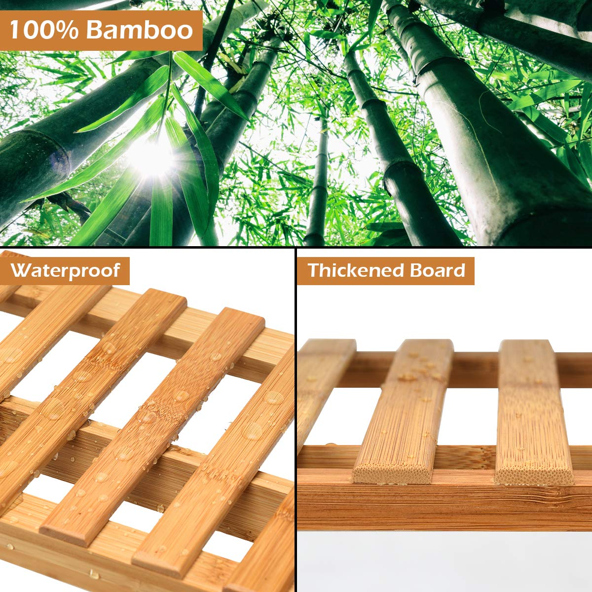 Giantex 3-Tier Bamboo Hanging Plant Stand Foldable Flower Pot Organizer Display Storage Rack Planter Shelves Potted Holder Garden Rack Decorative Stand for Indoor Outdoor Patio Lawn Garden Balcony