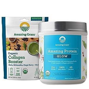 Amazing Grass Glow Collagen Booster Bundle - Vegan Protein Powder Vanilla Honeysuckle & Organic Collagen Booster