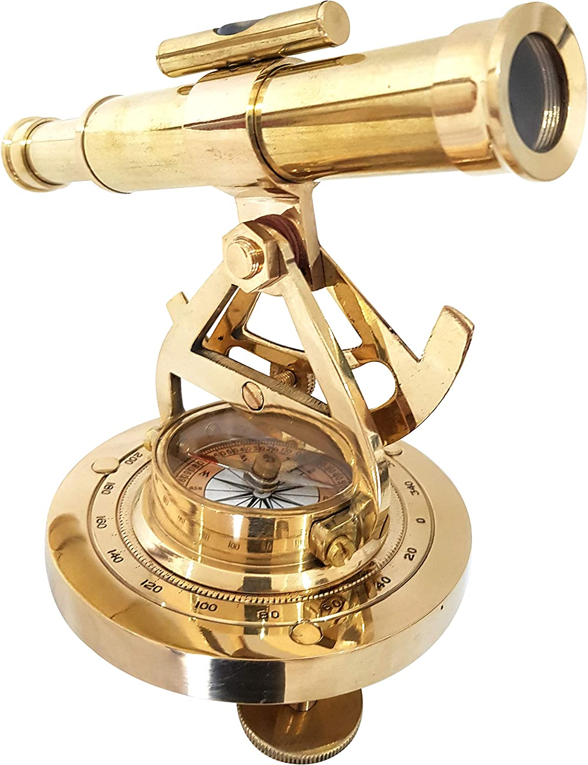 """8/"""" Brass ALIDADE Telescope With Compass Survey Tool Collectibles Nautical Gift"""