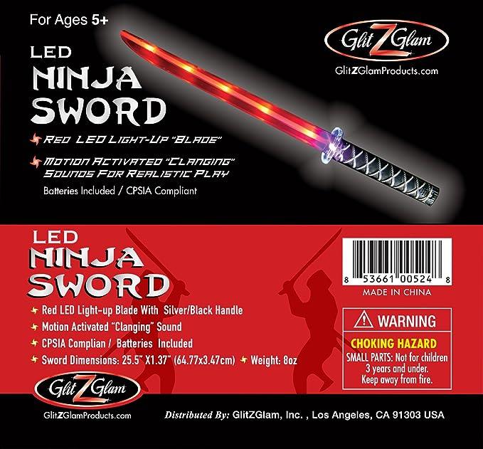 GlitZGlam Espada Ninja Luminosa (LED) Deluxe con Sonidos Que se activan al moverla - Rojo
