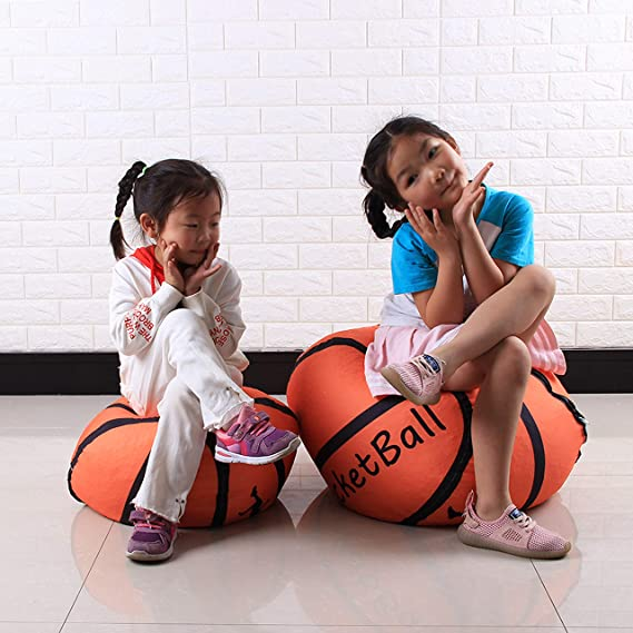 Evoio Stuffed Animal Bean Bag Storage Family Large Kids Toy Organizer /& Comfortable Ball Bean Bag Chair Multipurpose Storage Bag 100/% Cotton Premium Canvas Basketball, 18 inch