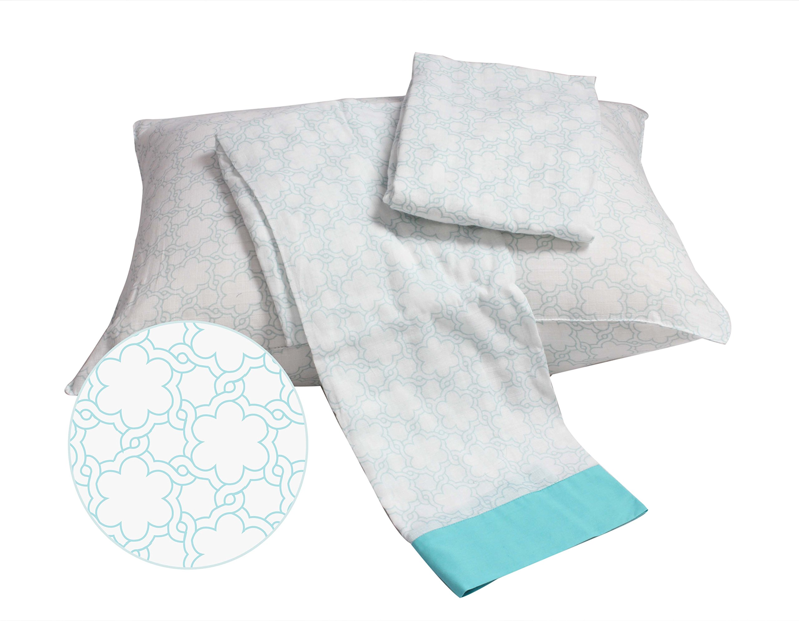 Bacati Floral Muslin 3 PieceToddler Bedding Sheet Set, Aqua