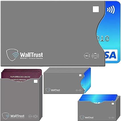 WallTrust® protectoras de tarjetas RFID NFC | Protección * Aprobado TÜV Alemán * | 26 Fundas para Tarjeta de Crédito Débito Identificación y Pasaporte