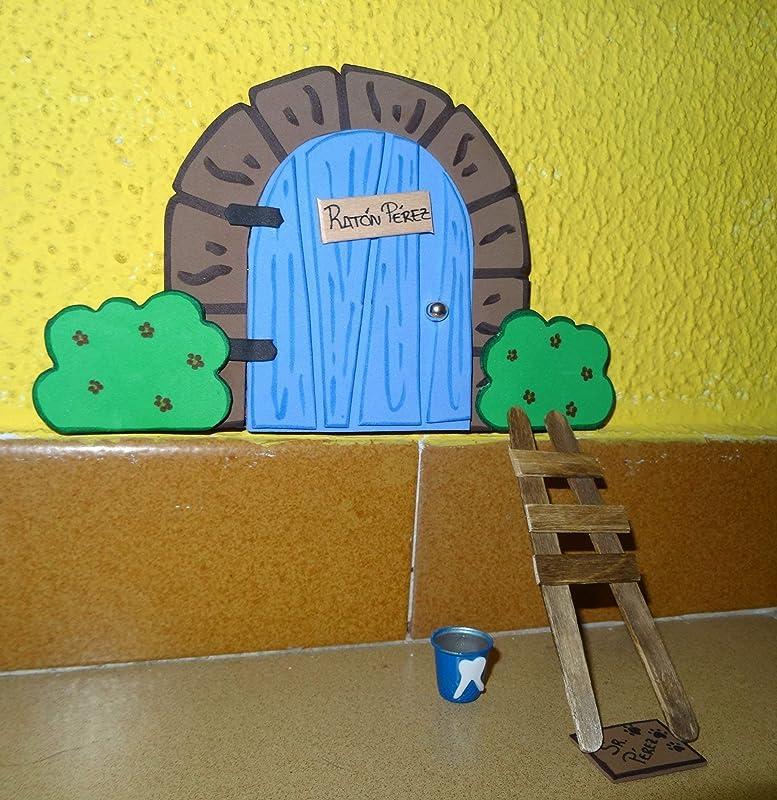 La puerta mágica del ratoncito Pérez personalizable. Incluye escalera, cubito y alfombra.: Amazon.es: Handmade