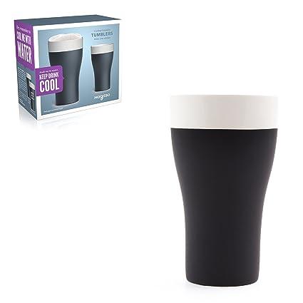Magisso 70626 Incluso abkühlende Pinta Vasos 2 x 5,68 DL, cerámica, Blanco/Negro, 9.5 x 9.5 x 16.5 cm, 2 Unidades: Amazon.es: Hogar