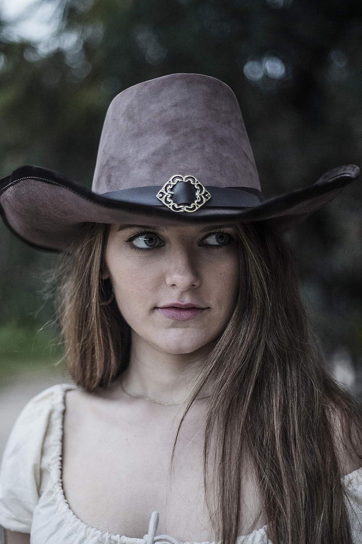 ¡No dudes! ¡Compra ahora! XL 60-61 cm Eviltailors - Sombrero Delacroix - - - Sombrero Medieval de Cuero Estilo Mosquetero de ala Media, Canela, XL  nuevo listado