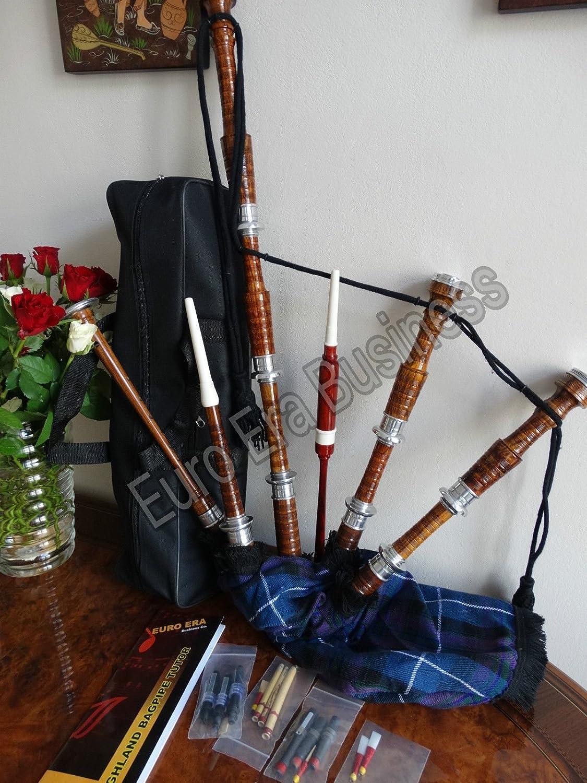 Scottish Highland Bagpipe Full Size Silver Mounts Natural Finish With Tutor Book Clan Tartan