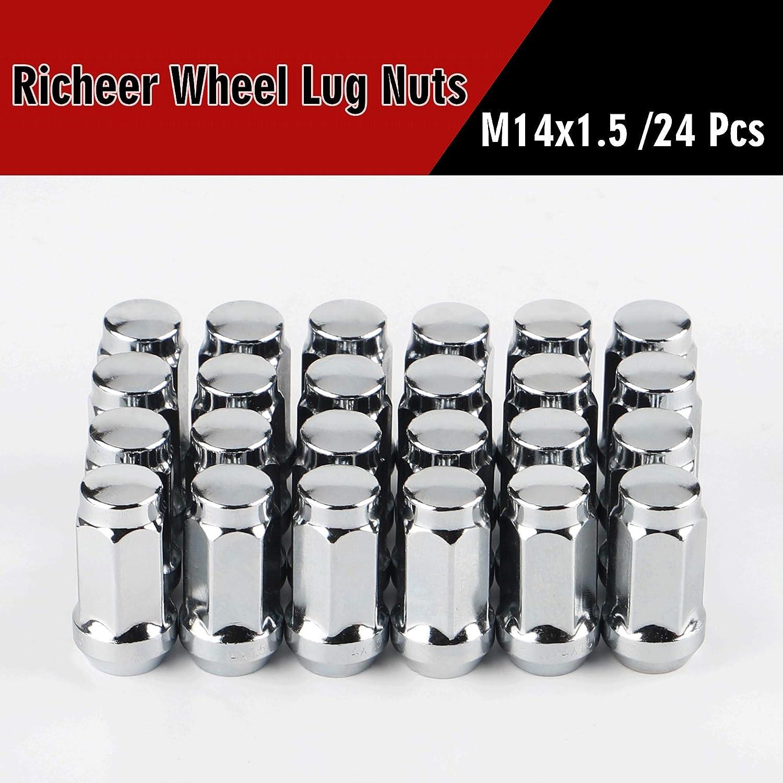 24PCS 1.78 inch Chrome 14x1.5 Closed End Bulge Acorn Lug Nuts 21mm Hex Wheel Lug Nut for K1500 K2500 Silverado Suburban 1500 K1500 Yukon Escalade ESV Cone Seat