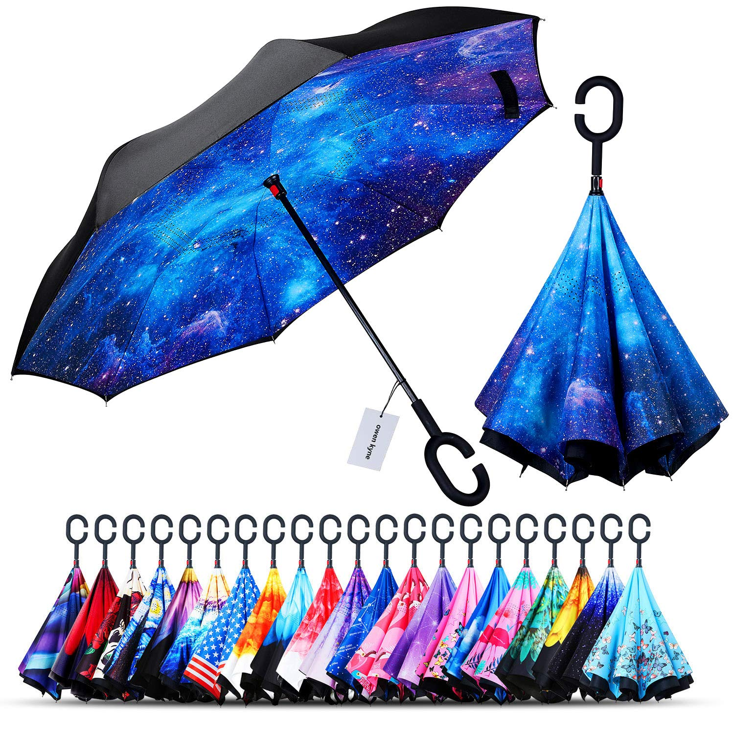 Owen Kyne Windproof Double Layer Folding Inverted Umbrella, Self Stand Upside-Down Rain Protection Car Reverse Umbrellas with C-Shaped Handle (Starry Sky 2) by Owen Kyne