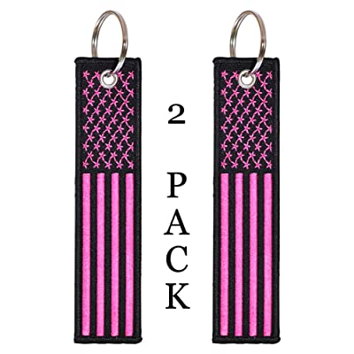 American Flag Keychain Tag with Key Ring and Carabiner - Keys, Cars, Motorcycles, Backpacks, Luggage, and Gifts - EDC (Pink): Automotive