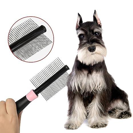 ANICHY Doble Shedding Peine Cepillo Rake Herramienta Mascota Pieles Grooming Perro Gato Pelo Corto Pin Metal