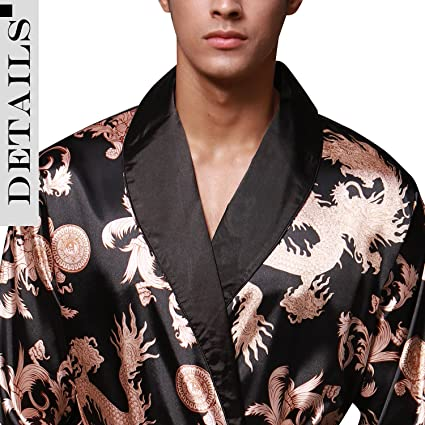 Dolamen Mens Dressing Gown Bathrobe Satin, Kimono Bath Robe Housecoat Nightwear Pyjamas at Amazon Mens Clothing store: