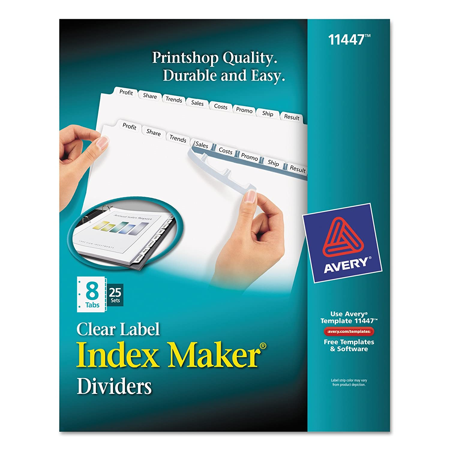 Amazon Avery Index Maker Clear Label Dividers 8 Tab 25 Sets