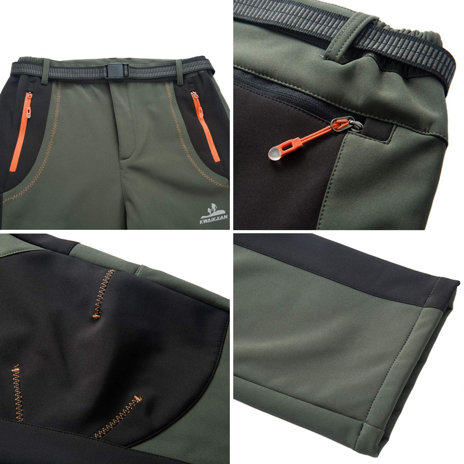 LY4U Womens Softshell Walking Hiking Water Resistant Trousers Winter Fleece Lined Windproof Outdoor Trousers With Belt