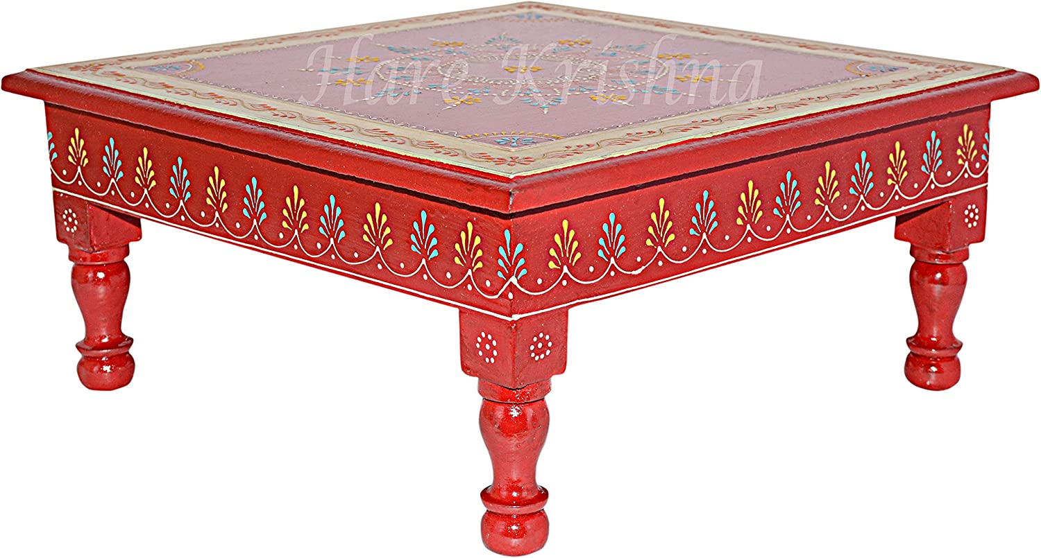 Hare Krishna Indian Wooden Furniture Hand Painted Chowki Pooja Low Side Table (Maroon) 13 x 13 x 5.5 Inches