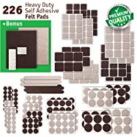 Premium Felt Pads - Ultra Large Pack - Different Sizes - 226 pcs, Felt Furniture Pads, Protect Your Hardwood, Vinyl & Laminate Flooring etc. Bonus: 24 pcs Silicone Pads Bumper Pads + 2 pcs Felt Sheet