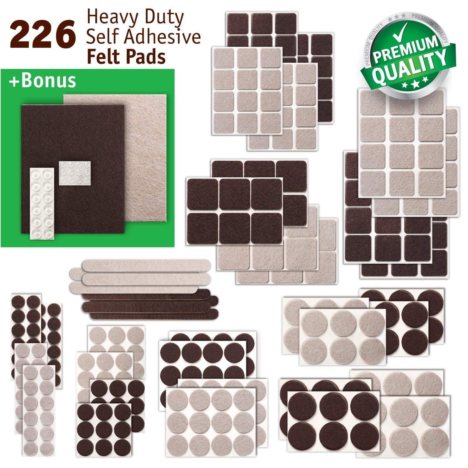 New Anti Scratch Premium Felt Pads – 226 pcs. Large Pack – Best Felt Furniture Pads for Hardwood Floors, Vinyl, Laminate – Chair Leg Floor Protectors Bonus: 24 Bumper Pads & 2 Felt Sheets (2 Colors)