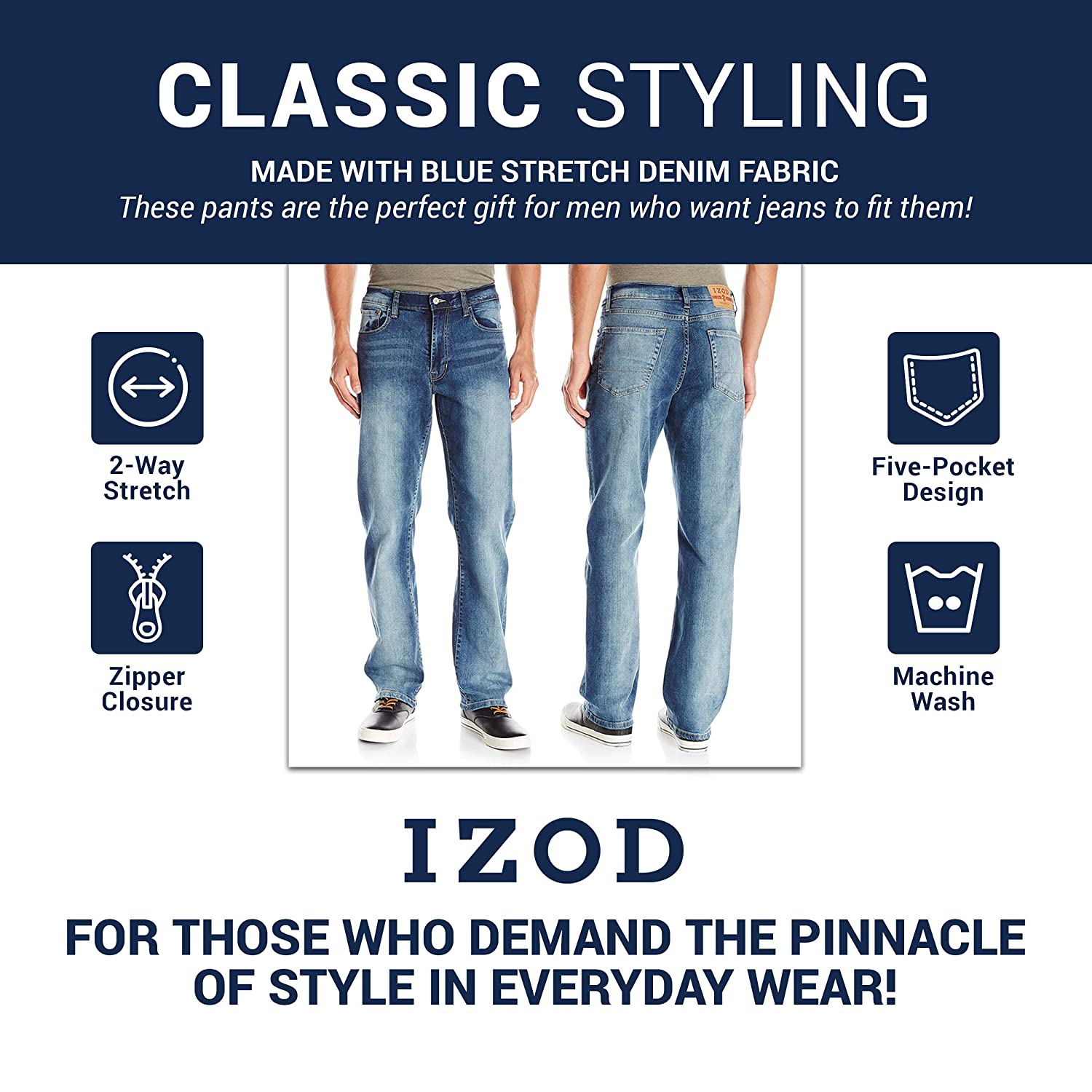 Relaxed Fit Izod Mens Comfort Stretch Denim Jeans
