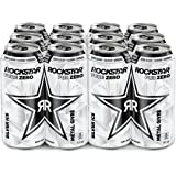 Rockstar Energy Drink Pure Zero Silver Ice, 473 mL Cans, 12 Pack