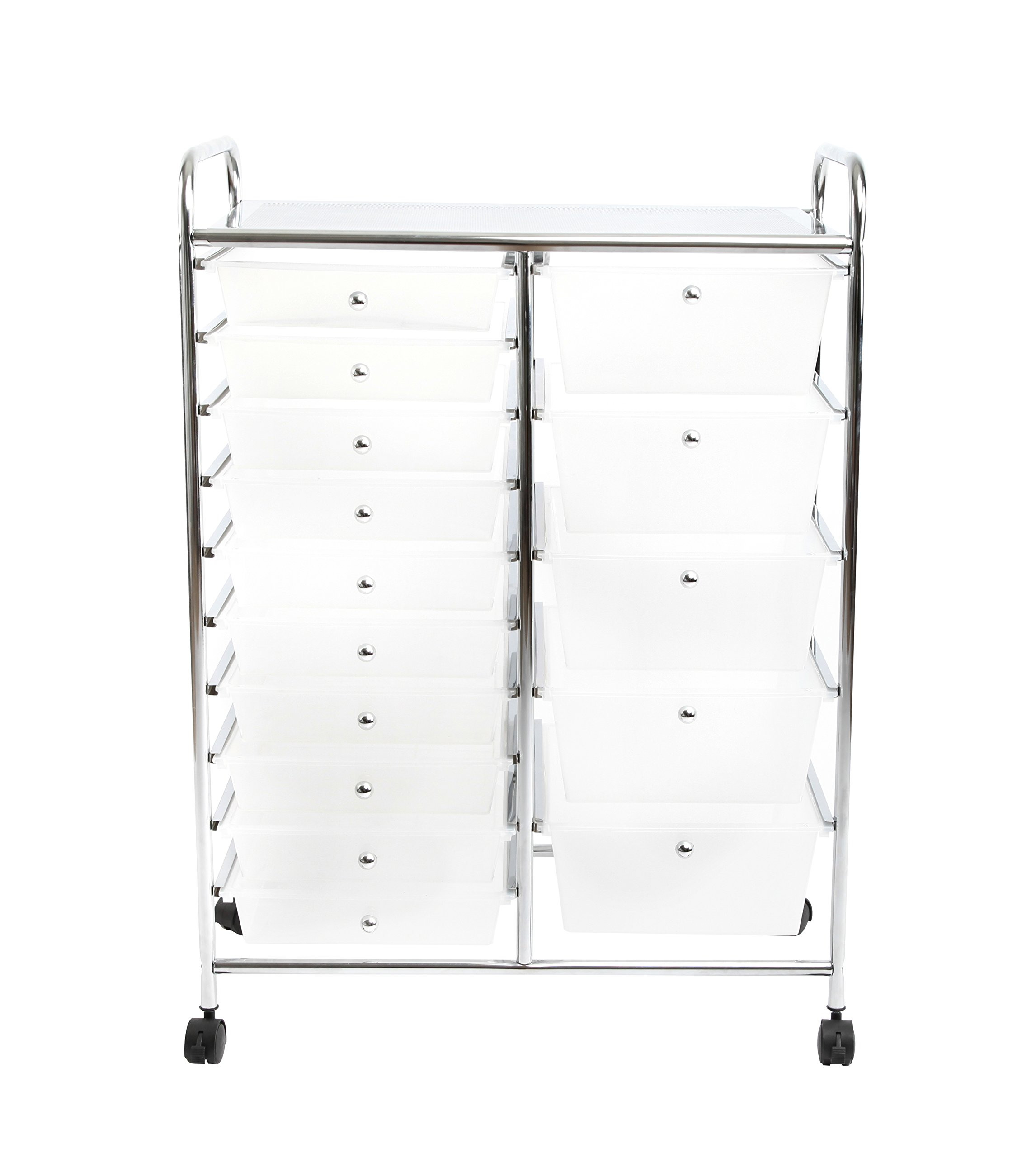Finnhomy 15 Drawer Rolling Cart Organizer Storage Cart with Drawers Utility Cart for School Office Home Beauty Salon Storage Semi-Transparent White by Finnhomy (Image #2)