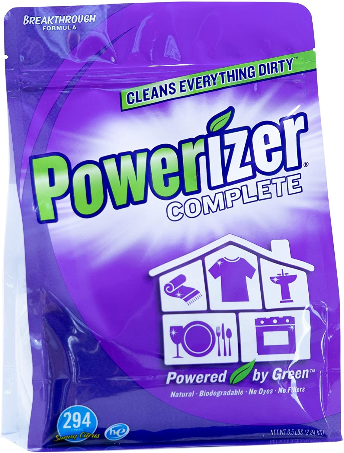 Powerizer Complete All-in-One Laundry Detergent, Dish Detergent, Bathroom Cleaner, Floor Cleaner, Carpet Stain & Spot Remover, Multi-Purpose Cleaner - Parent (6.5lb)
