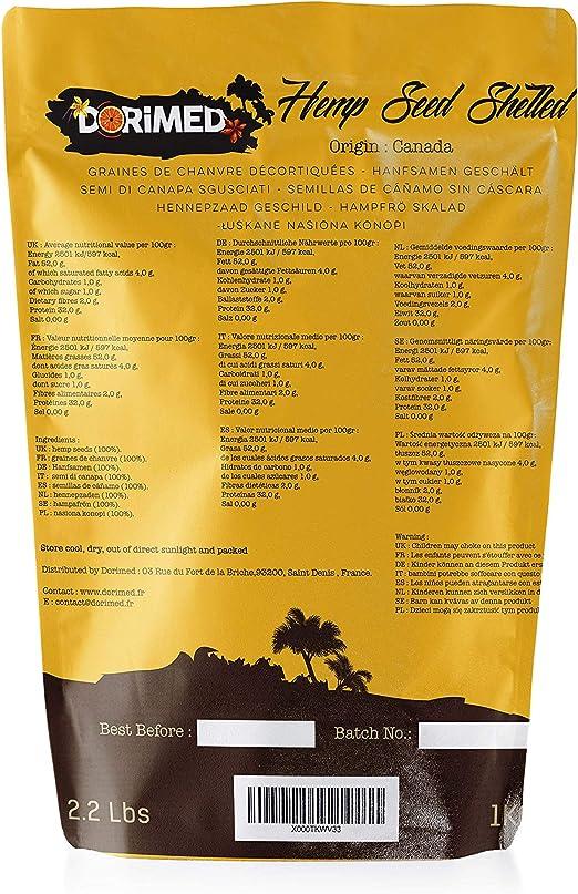 Pack Semillas de Cáñamo Peladas 1kg | Semillas de Cereal Cañamones en su forma Pelada (Sin Cáscara) Crudas | Alto Contenido en Hierro y Omega 3 | ...
