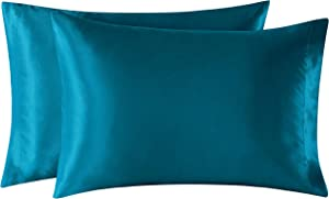 EXQ Home Satin Pillowcases Set of 2 for Hair and Skin Queen Size 20x30 Teal Pillow Case with Envelope Closure.