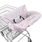 Super Deal! Waterproof 2-in-1 Shopping Cart Cover & High Chair Cover for Baby & Toddler with Safety Harness (Calm Pink)