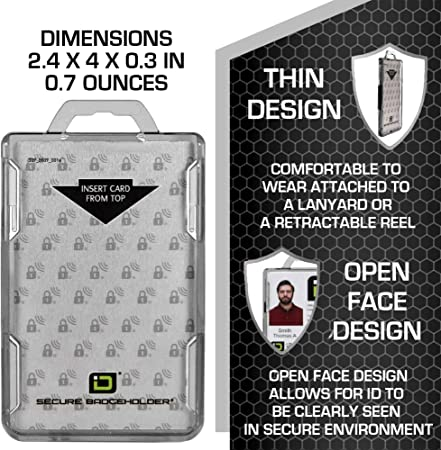 FGGS-ID Card Holder Enclosed Pass Badge Holder Secure Enclosed Horizontal 20 Gimax Card /& ID Holders Color: 50pcs