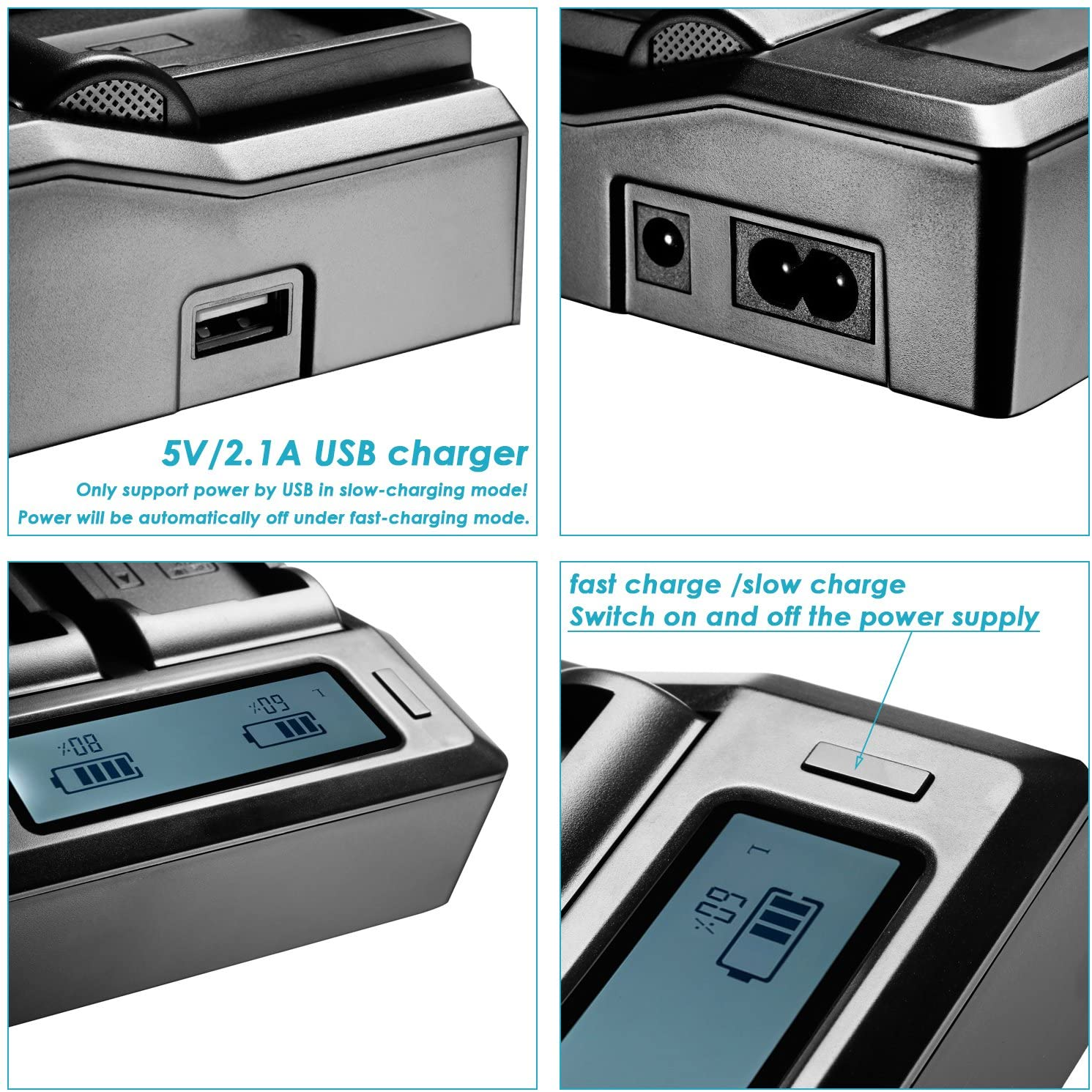 Spina Americana + Spina Europea + Adattatore per Auto Neewer Caricabatterie con Display LCD per Batterie Sony NP-FW50 Compatibile con Sony NEX-3//5//6//7//C3//F3 SLT-A33//A37//A55
