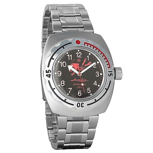 Vostok Amphibian - Reloj de pulsera automático para hombre, de cuerda automática, de buzo militar, 090657 Scuba Dude esfera negra: Amazon.es: Relojes