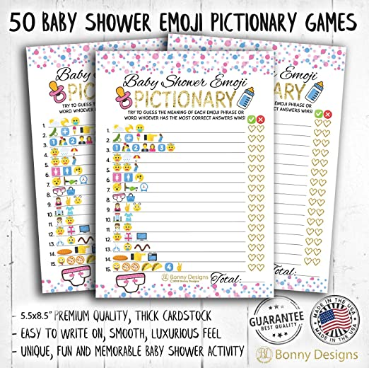 Amazon Com 50 Emoji Pictionary Baby Shower Prediction Games For Men