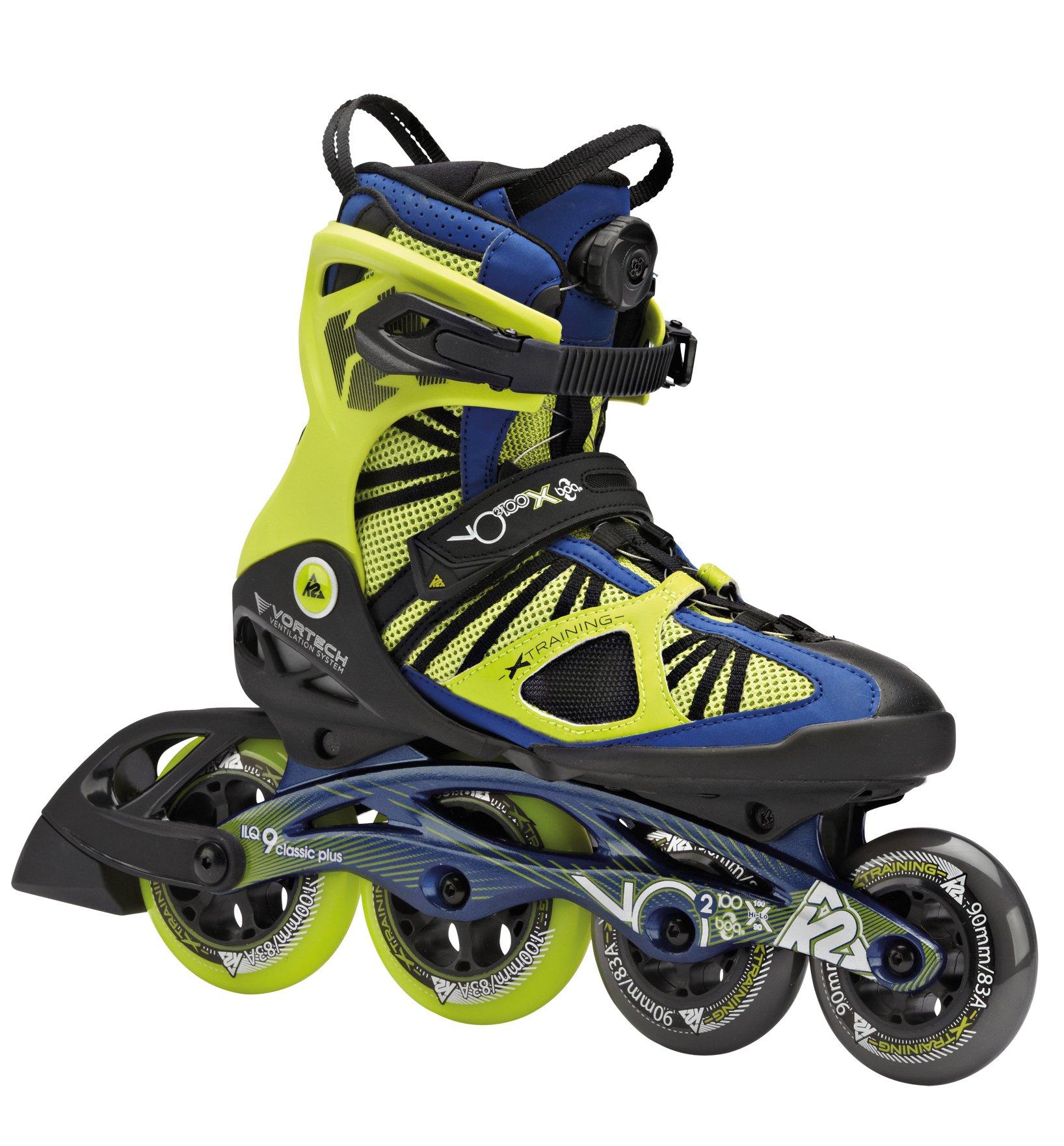 K2 Skate VO2 100 X Boa Inline Skates, Lime/Cobalt, 5
