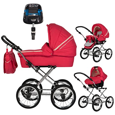 Friedrich Hugo Natural Eline Uni | Carrito 4 en 1 | Isofix Set Hugo Strawberry Silver