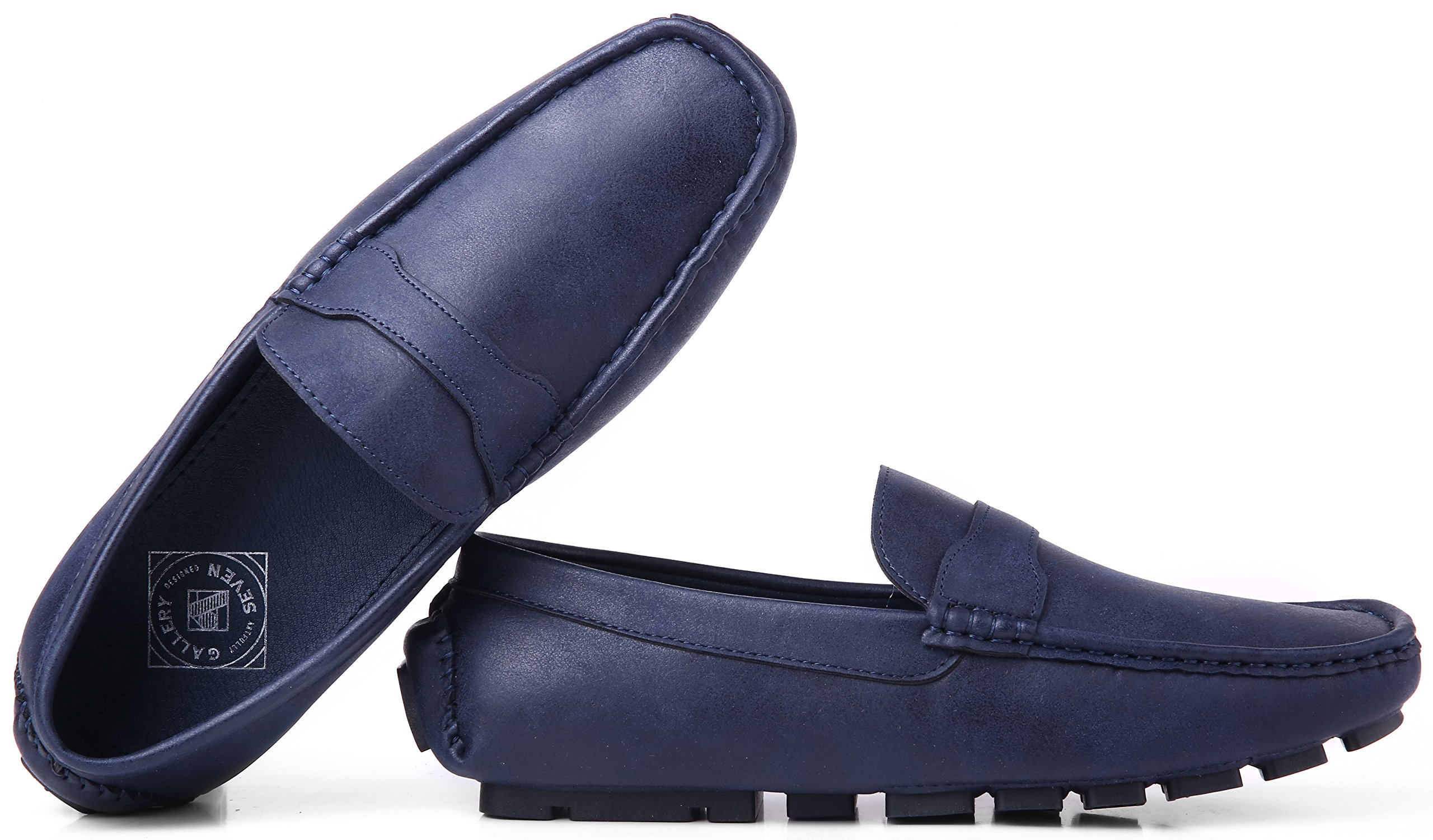 Gallery Seven Driving Shoes for Men - Casual Moccasin Loafers - Steel Blue - US-12D(M)|UK-11.5|EU-45