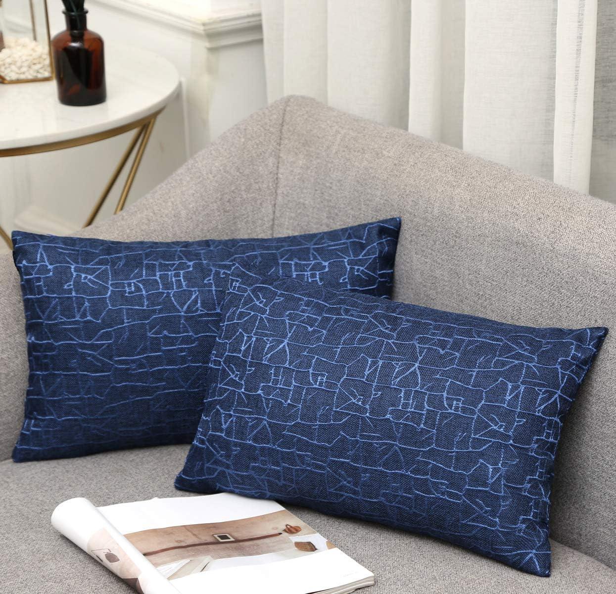 Vioaplem - Funda de cojín bordada de algodón, lino, para sofá, dormitorio, hogar, 45 x 45 cm, azul marino, 30 x 50 cm,2 stück