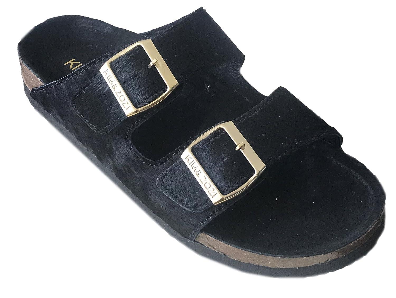 Kim & Zozi Fur and Leather Sandals B07CY9MQTM 10 B(M) US|Black & Gold