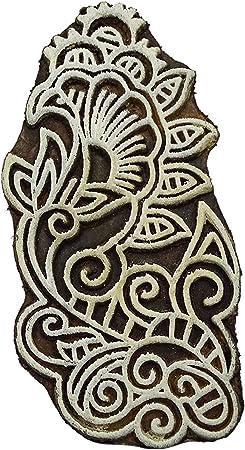 Set of 5 Elegant Designs Flower and Lotus Wooden Block Stamps