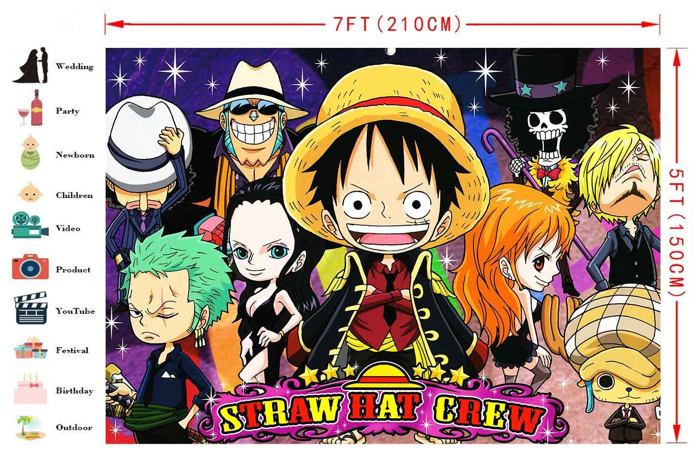 Amazon Com Straw Hat Crew Background 7x5ft Anime One Piece