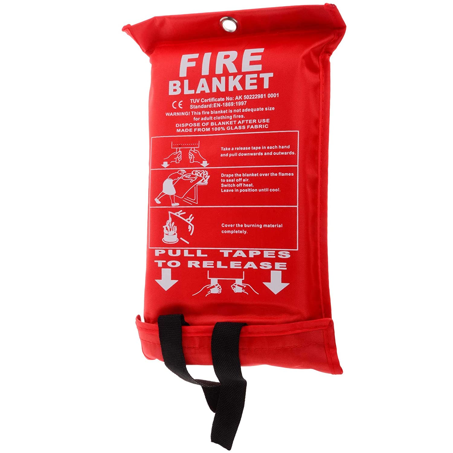 Fire Blanket, 1m x 1m in Size with Wall Mountable Case and Quick Release Tabs Blackspur