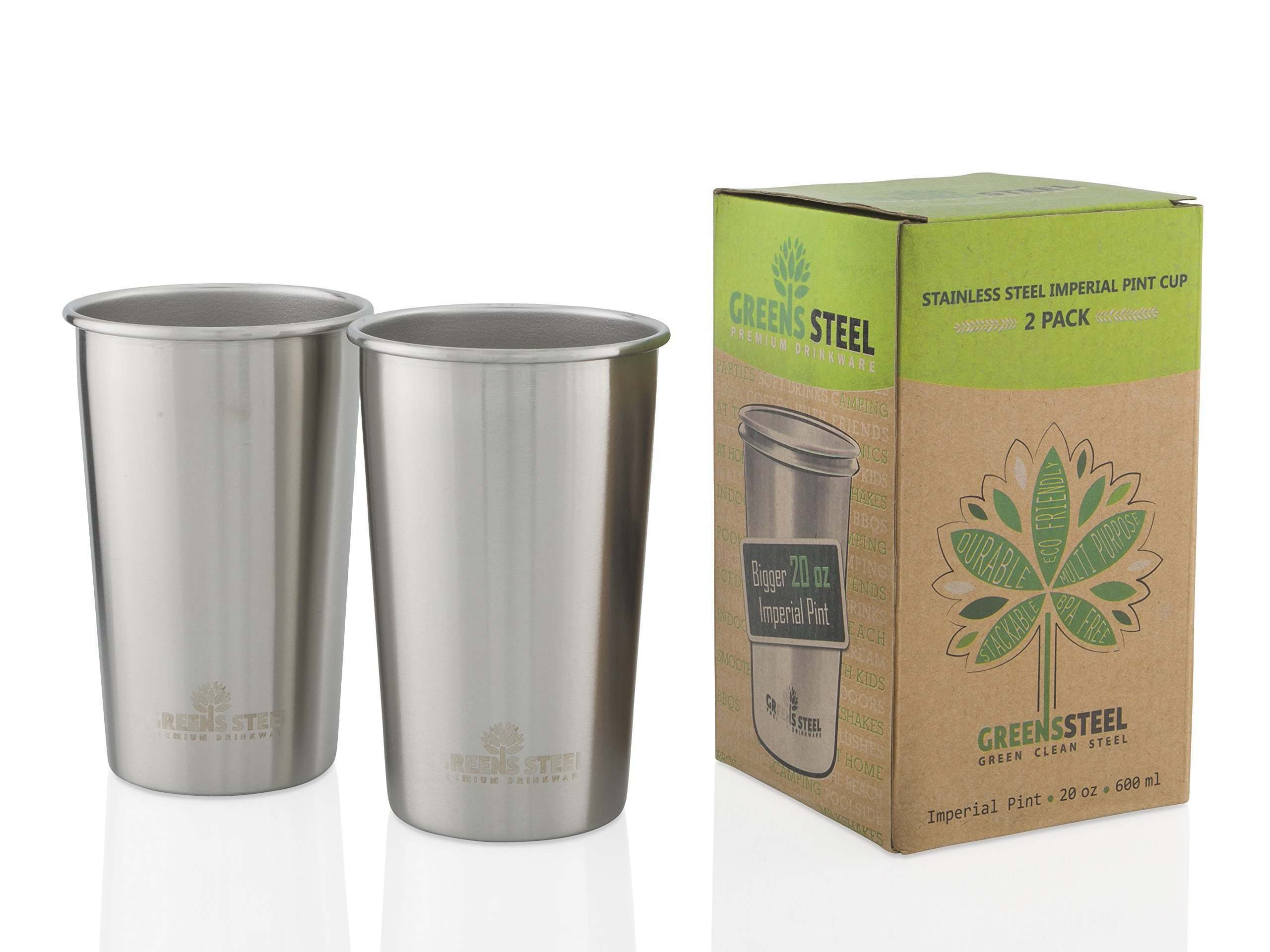Greens Steel Stainless Steel Cups 20oz Pint Cup Tumbler (2 Pack) Premium Metal Cup - Stackable Durable Drinking Glass